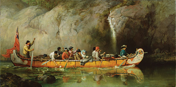 F-A-Hopkins Canoe Manned by Voyageurs Passing a Waterfall